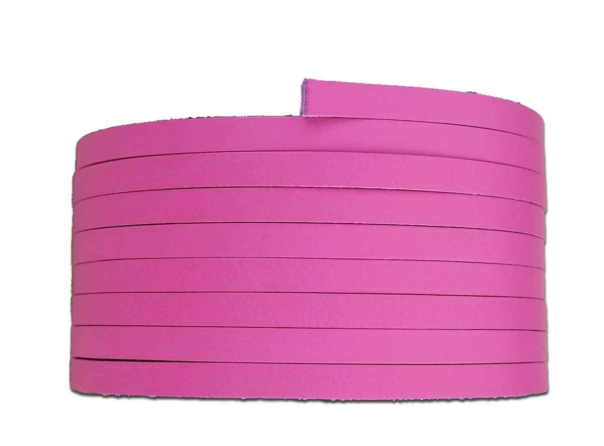 "Hot Pink Leather Laces 1/8"", 3/16"" or 1/4"" wide - Leather Laces 6-7-oz (2.4 -2.8 mm) for Leather Craft - Choose 36"" or 72"" Long Lace - Made in USA by Pitka Leather (1/8"" x 72"")"