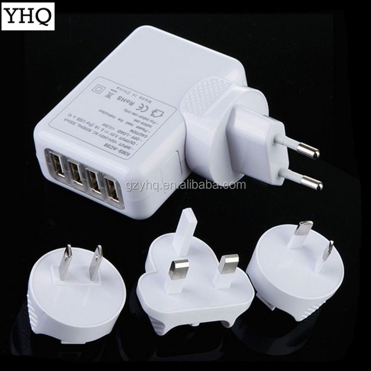 4 Port USB Charger Adapter USB Desktop High Speed Plug for iPhone/ iPad/ Samsung Kindle for iPod-Universal Travel/Wall Charger