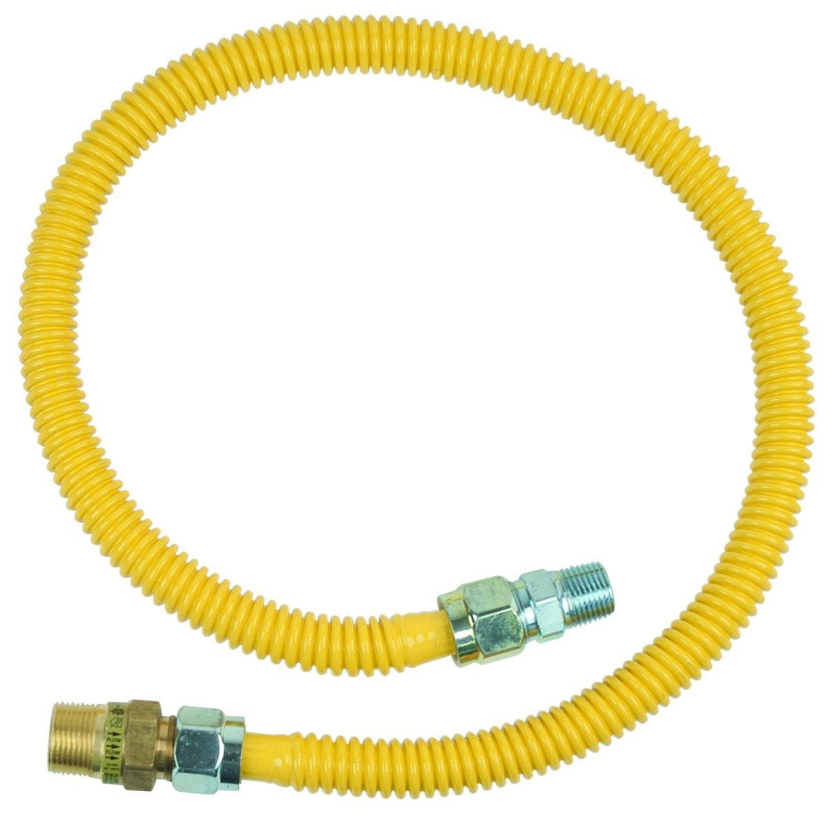 BrassCraft CSSC14E-36 P 3/4-Inch MIP EFV x 1/2-Inch MIP x 36-Inch Safety PLUS Gas Appliance Connector with 5/8-Inch OD