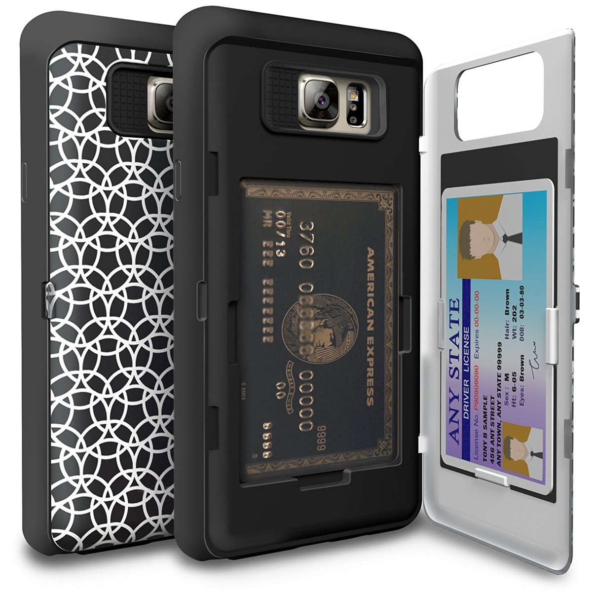 Galaxy Note 5 Case, TORU [CX PRO] - [CARD SLOT] [ID Holder] [KICKSTAND] Protective Hidden Wallet Case with Mirror for Samsung Galaxy Note 5 - Circle Geo