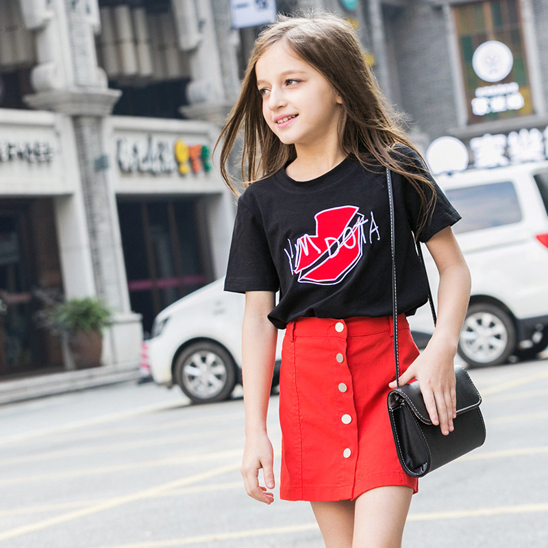2016 Latest Fashion Kids Summer T Shirt Baby Girl Black ... Red Dresses For Girls Age 9