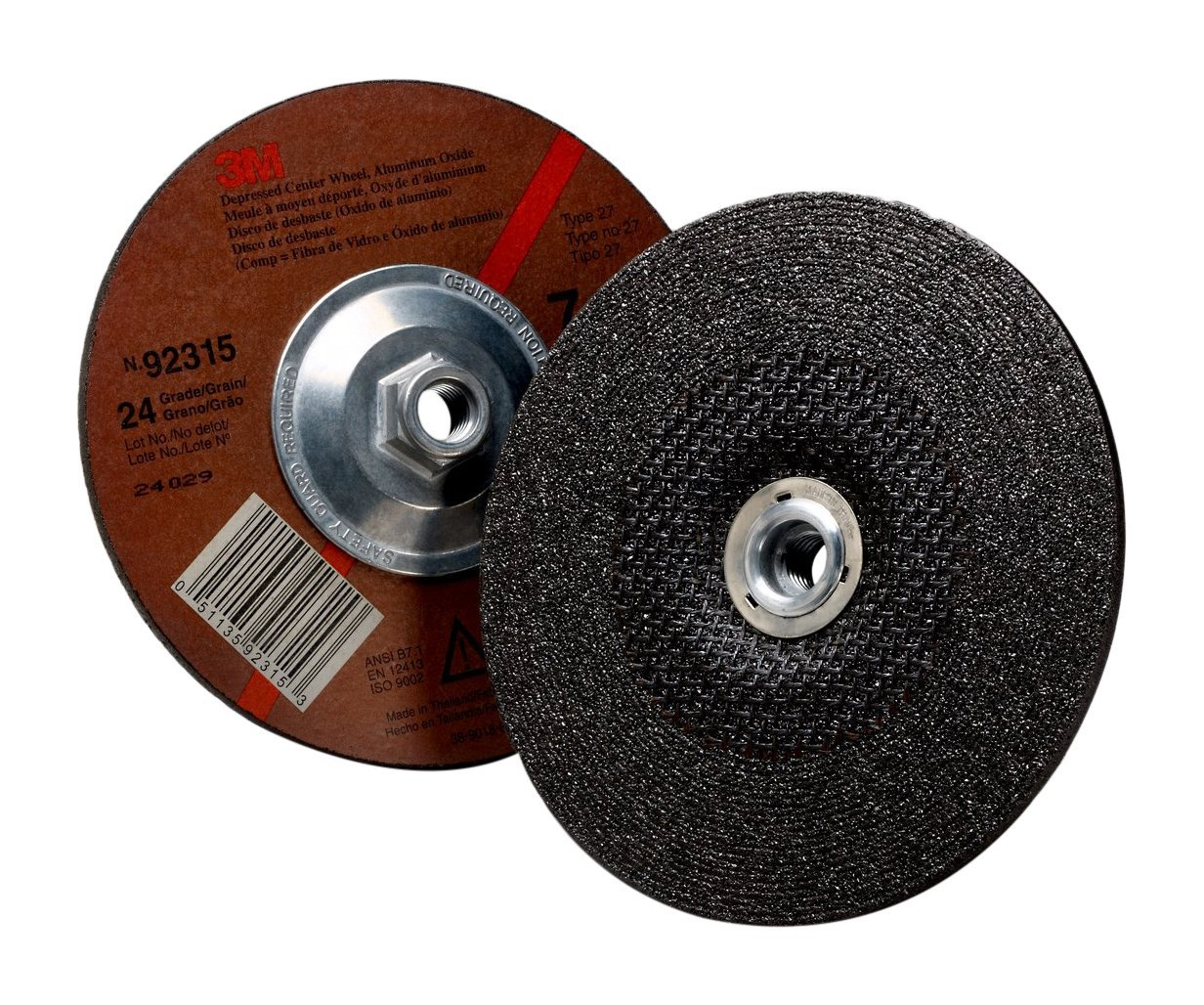 "3M 92315 General Purpose Depressed Center Wheel, 7"" x 1/4"" x 5/8-11"", Internal 24, 7"" Diameter, Adhesive Backed, Abrasive Grit, Aluminum Oxide, 7.15"" Width, 8500 rpm"