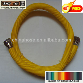 Yellow stainless steel flexible corrugated gas hose