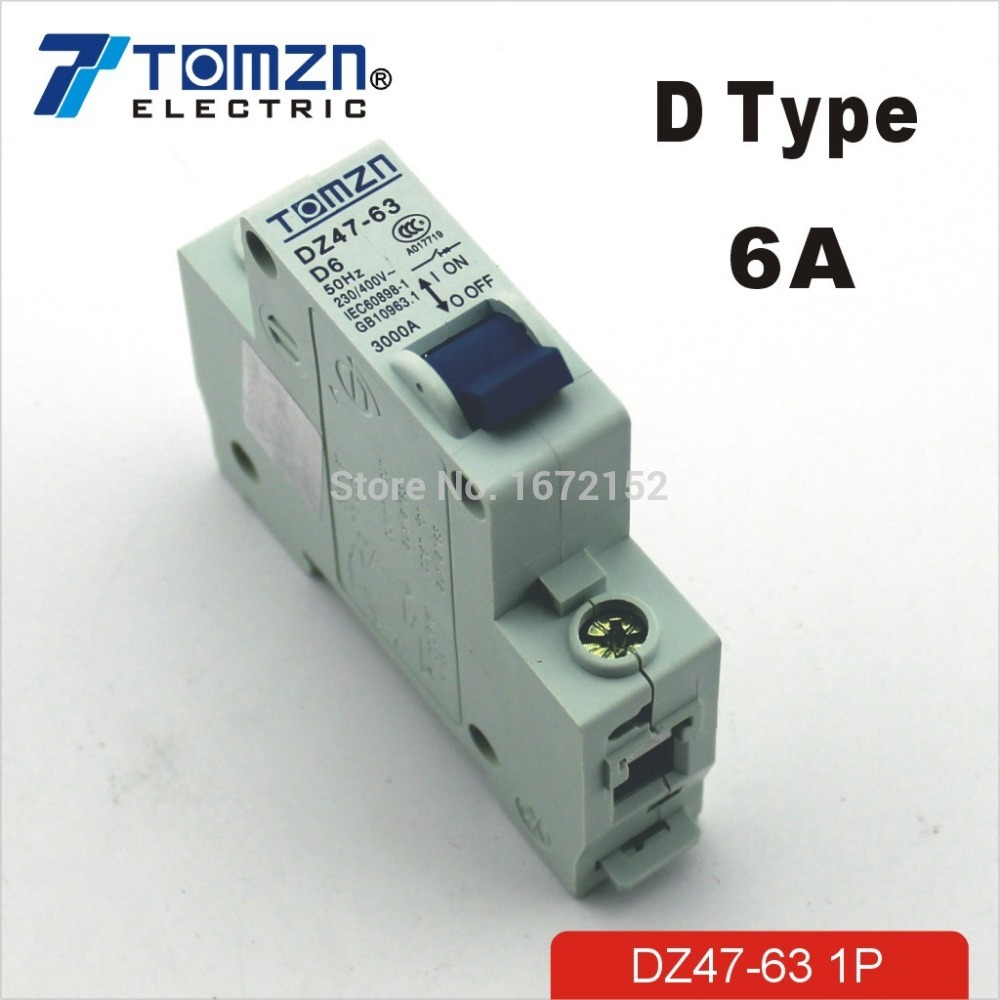 1P 6A D type 240V/415V 50HZ/60HZ Mini Circuit breaker MCB C45