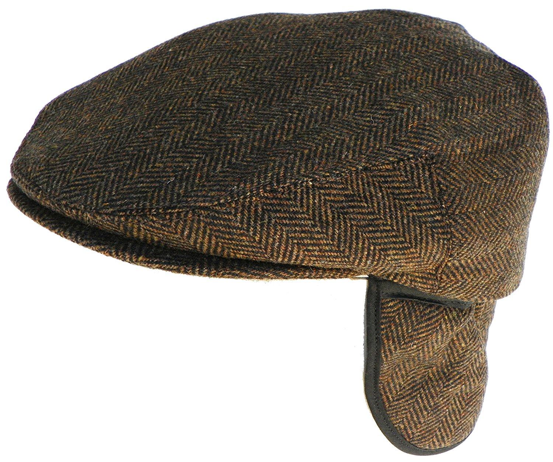 61297f32f94 Headchange Made in USA Herringbone or Solid Ear Flap Ivy Cap Winter Hat 100%  Wool