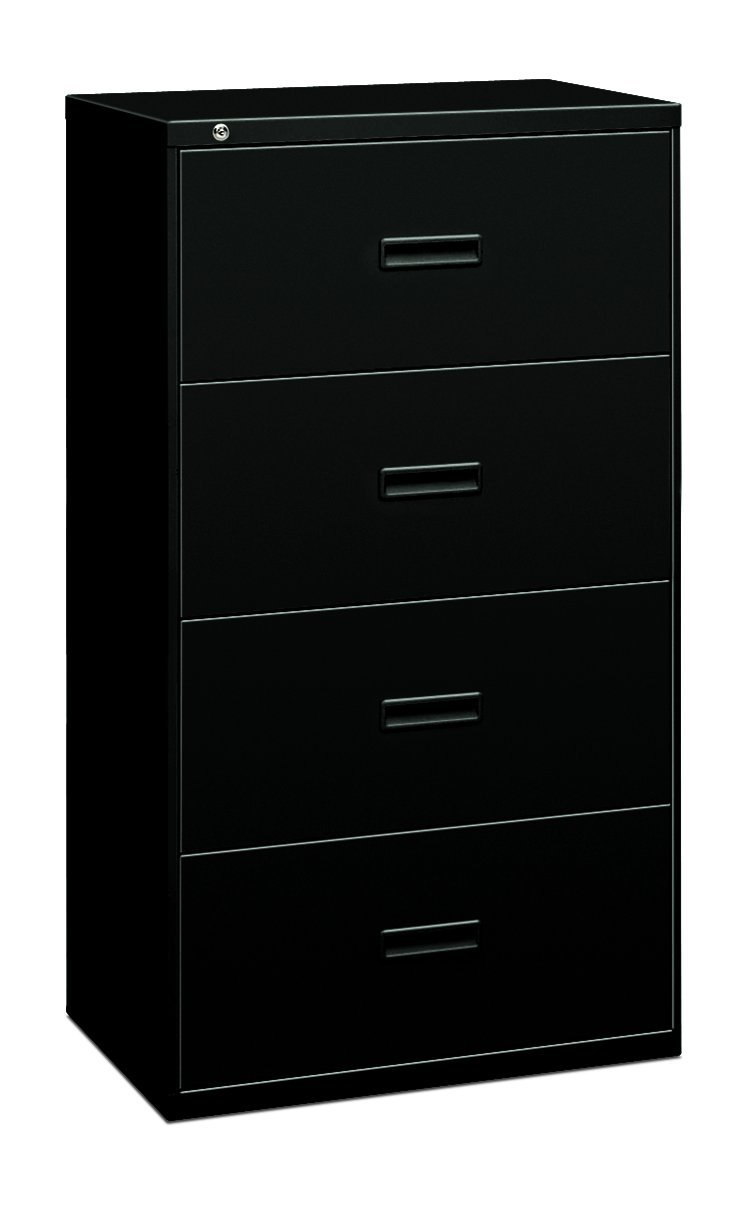 Basyx 4-Drawer Lateral File Cabinets, 36 by 19-1/4 by 53-1/4-Inch, Black
