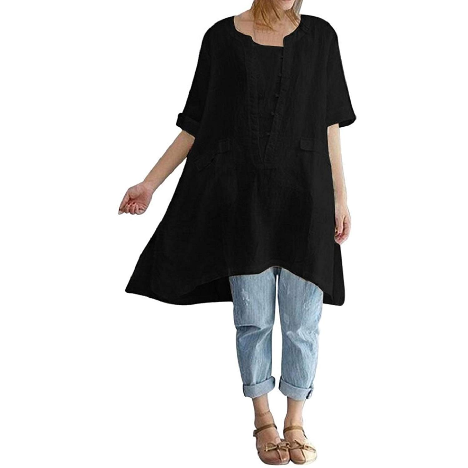 80519488e04 Get Quotations · GONKOMA Women's Plus Size Tops Irregular Casual Loose  Blouse Linen Short Sleeved T-Shirts Vintage