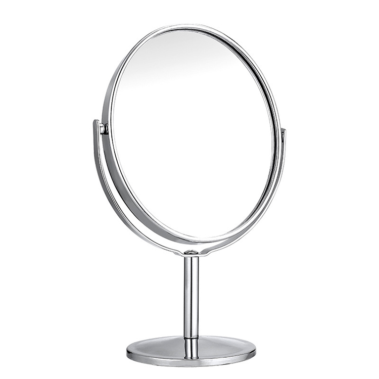 Stainless Steel Frame Desk Table Decorative Makeup Mirror