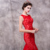 2017 lace applique tulle red evening dress with real photos