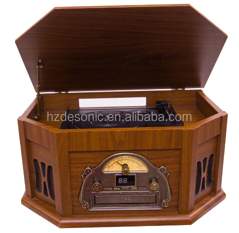 DS-168 nostalgic turntable radio with CD and USB Cassette