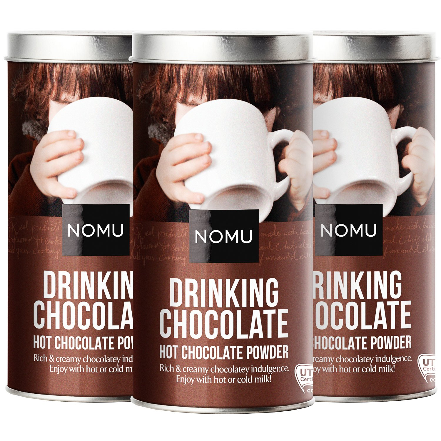 NOMU Drinking Chocolate Powder (3-pack) - Gourmet Cocoa Mix (33 servings)