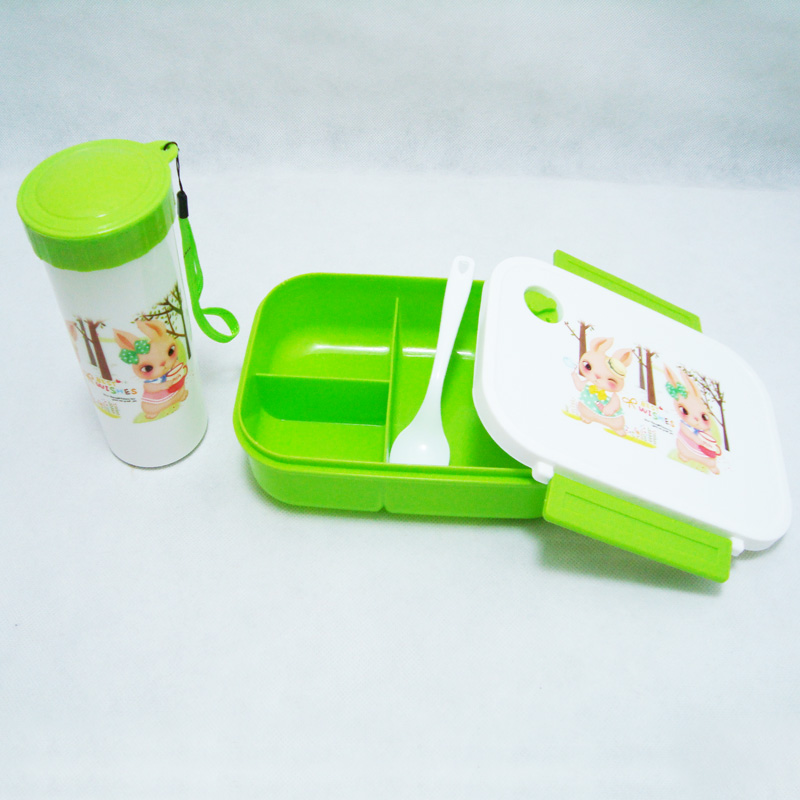 プラスチック製の水ボトルと空気穴漫画ランチボックス 3 コンパートメント食品容器ボックス子供のための