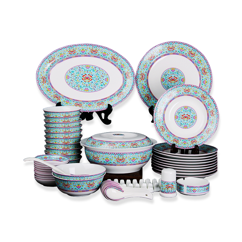 58pcs New design Exquisite Round shaped luxury ceramic Tableware Plates dinnerware sets фото