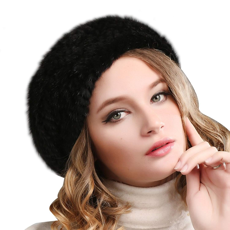 30dab453fd1 Get Quotations · FURTALK Ladies 100% Natural Mink Beret Hat women winter  fur hats mink fur beret for