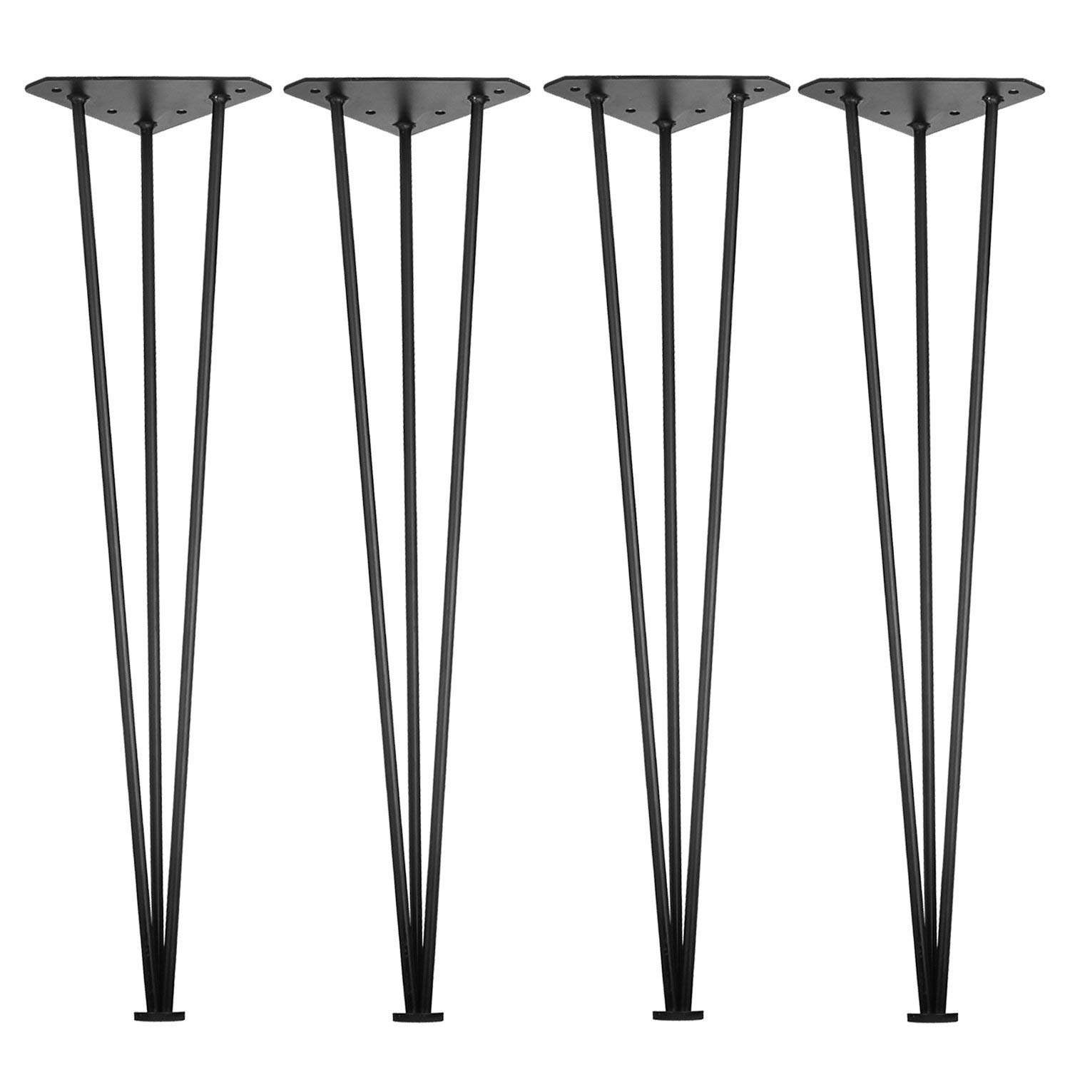 "3S 28"" Three-Rod Heavy Duty Hairpin Legs 1/2 Set of 4 Table Legs, Satin Black, Metal Legs, Screws Included"
