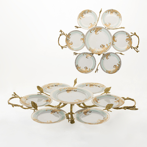 Royal Home Tableware New style serving plates ceramic plates dishes with brass stand