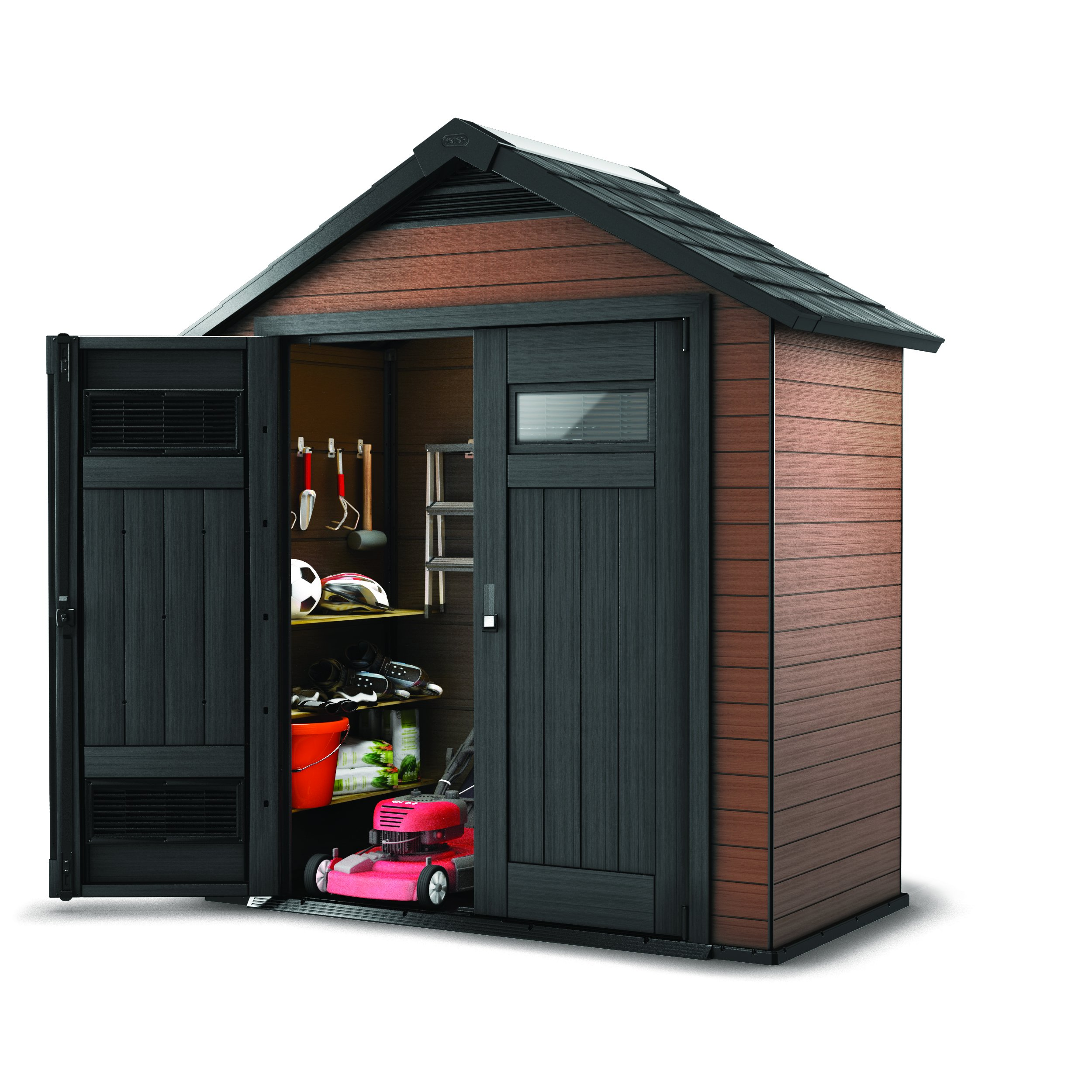 Keter Fusion Large 7.5 x 4 ft. Wood & Plastic Outdoor Yard Garden Composite Storage Shed
