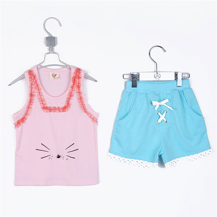 2015 summer  girls cotton T-shirt and short pant little girls casual :Sleeveless clothing sets girls fashion clothes A1780