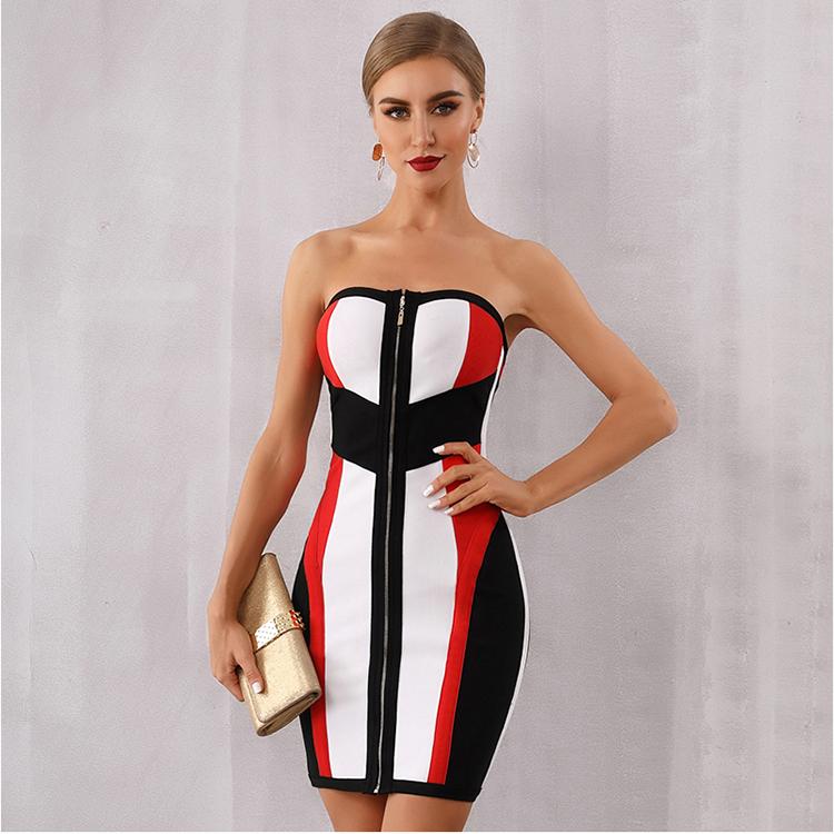 Wholesale Bandage Dress Women Vestidos Verano 2019 New Summer Strapless Midi Club Dress Runway Celebrity Evening Party Dress фото