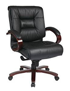 Avenue 6 Office Star 8501 Deluxe Mid Back Black Executive Leather Chair with Deluxe Locking Mid Pivot Knee Tilt and Mahogany Finish