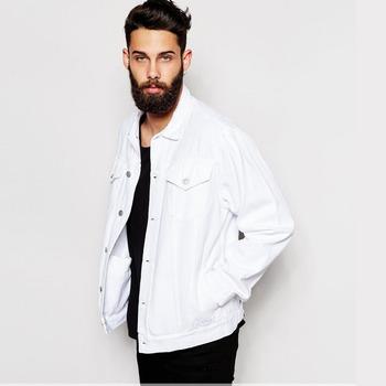Wholesale White Plain Denim Jacket Fashion Design Fancy Wear