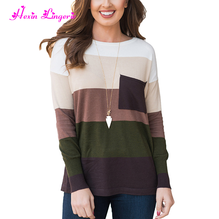 Fast Shipping plus size o neck stripes knitted vintage fashion sweater for women