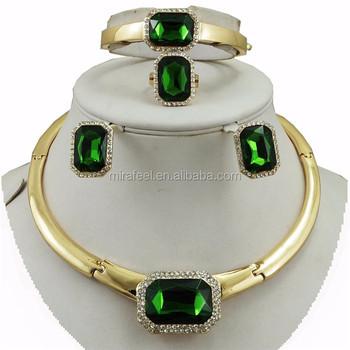985920558dfb Elegante mujer chapado en oro de cristal verde conjuntos de joyas de collar  de boda gota