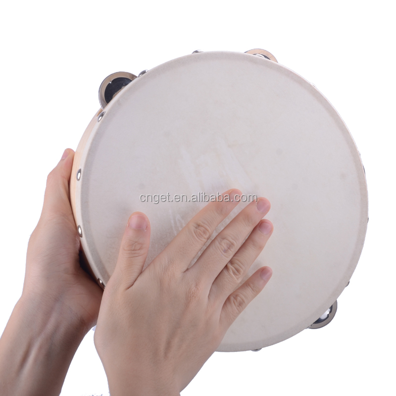 "9"" Hand Held Tambourine Drum Bell Birch Metal Jingles Percussion Musical Educational Toy Instrument for KTV Party Kids Games"