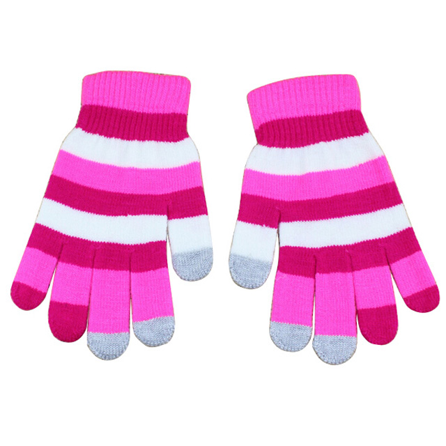 Winter custom design acrylic magic knit touch screen gloves with printing logo