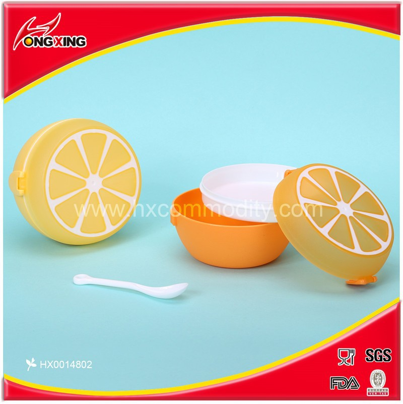 High quality plastic fruit design orange shape children lunch boxes