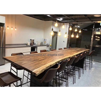 Customized Long Whole Piece Tree Log Walnut Wood Slab Live Edge Table Top Dining Tables