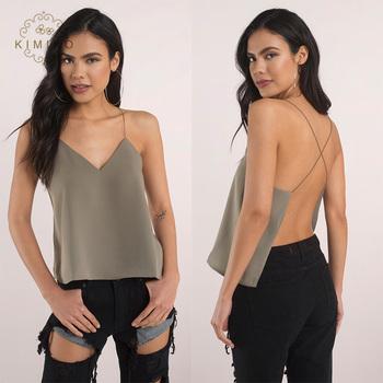 28e695b8849 Fancy Tops For Girls Women Summer Sexy V Neck Low Cut Backless Top ...
