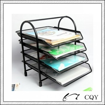 Wire Mesh Office Desk Doent Tray With 4 Tier