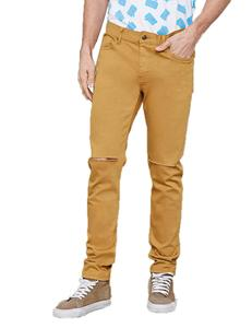 Royal wolf denim jeans manufacturer Solid Colored Tailored selvedge 1 Cut Ripped Knees Slim Fit Jeans in Dubai with Price
