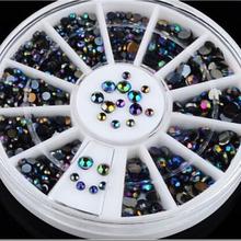 1 PCS rodada Glitter Nail Art decoração pedrinhas acrílico Gel dicas de unhas encantos de unhas DIY unhas acessórios
