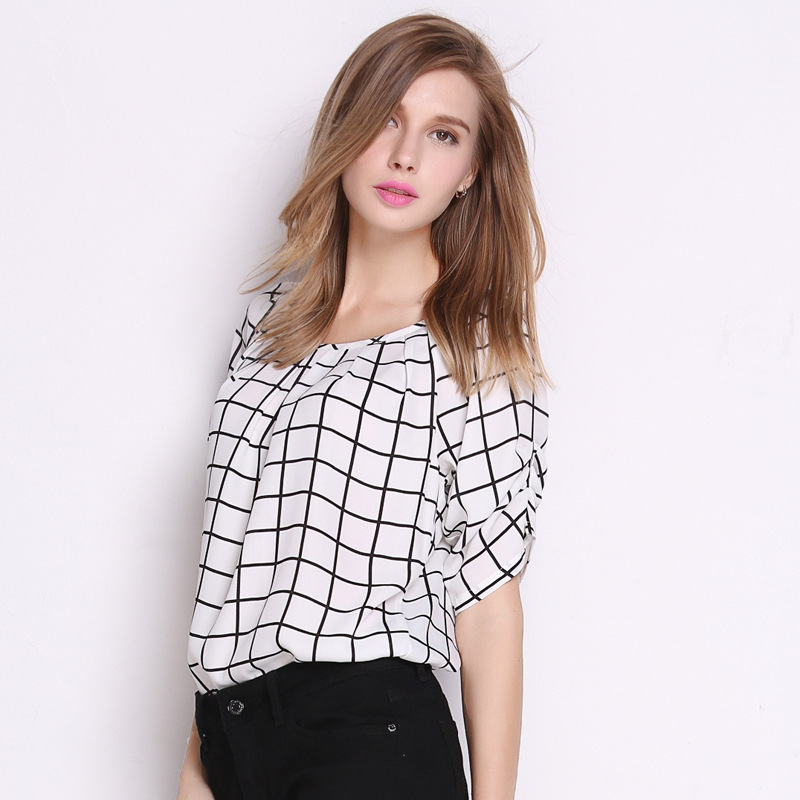 4b38ca9026a Get Quotations · Plus Size Chiffon Blouse Print Grids Shirts 2015 Summer  New Fashion O-Neck with Sash