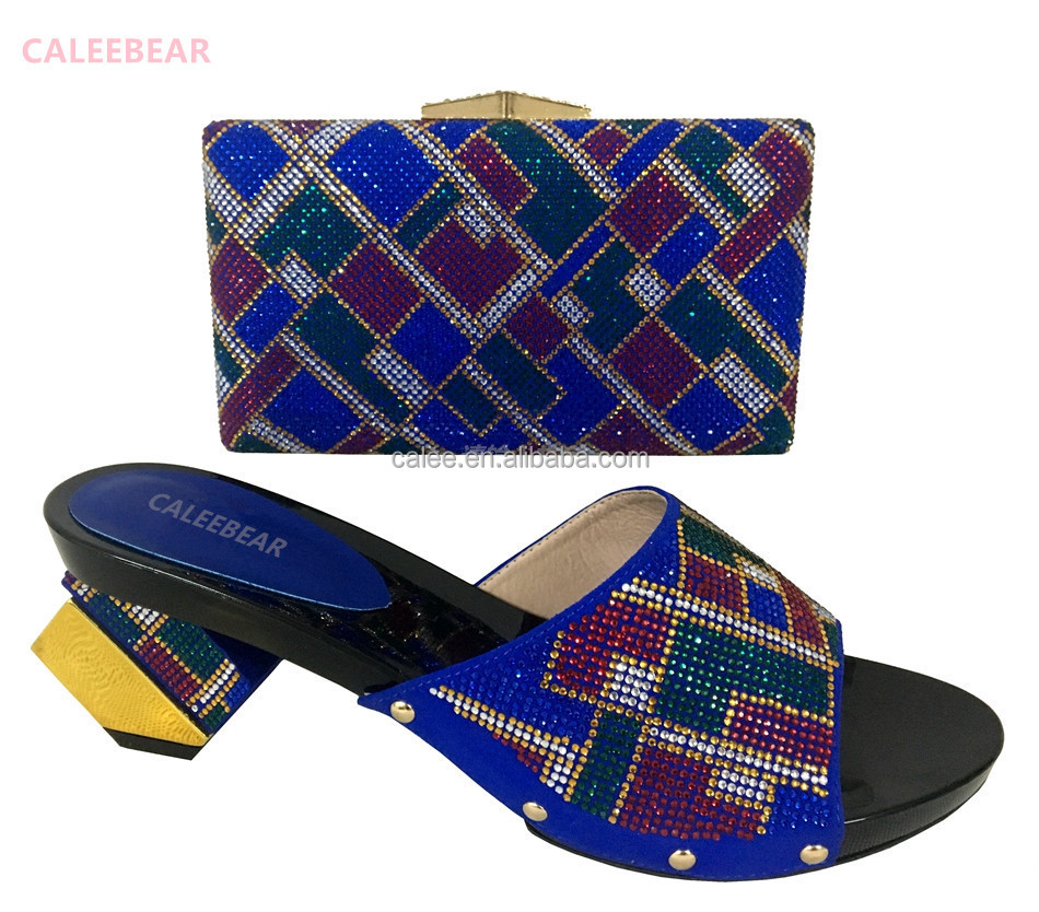 Heels Blue Ladies Bag Bags Sandals And Shoes Italian Toe Matching African And Low Open BBn4qF