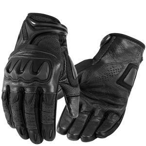 Carbon Fiber Motorcycle Motorbike Motocross Motor Genuine Leather Riding Racing Gloves With Knuckle Protection