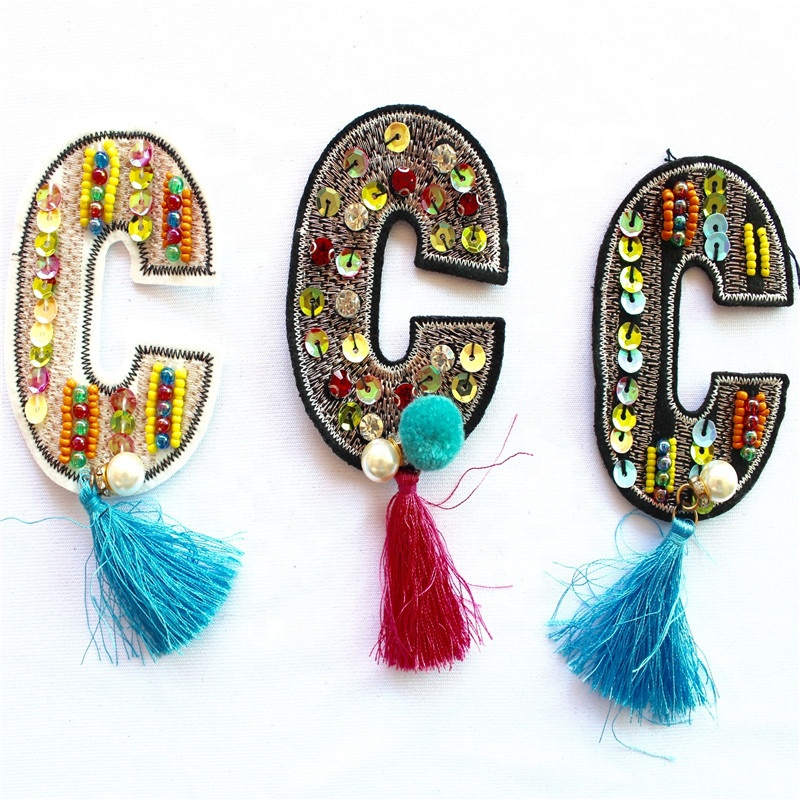 Color hand embroidered sequins beaded patches for clothes fr clothing patches letter embroidery patches фото
