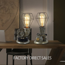 Loft industrial Creative retro antique fancy resin table lamp for desk checkout counter
