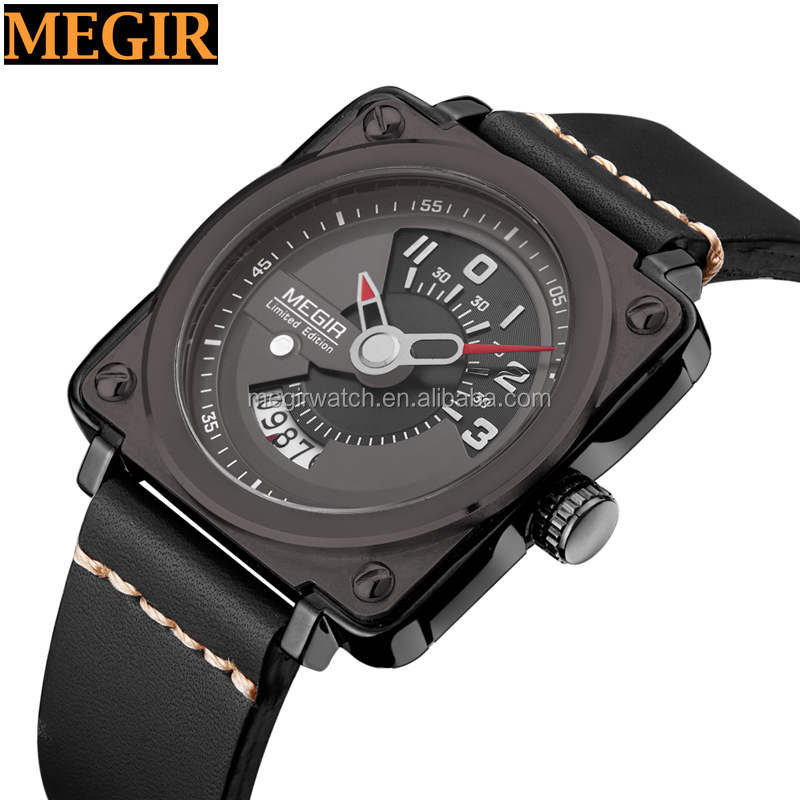 High quality new design fashion men watch genuine leather band square case a mani watch men