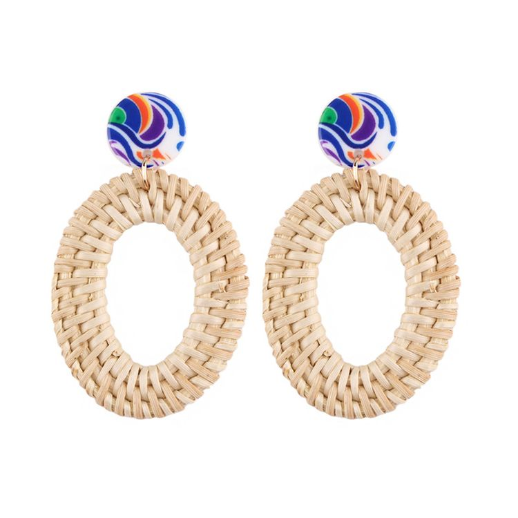 Fashion Pearl Flower Shaped Round Circle Rattan Weaving Earrings