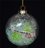 8cm pie-shaped transparent glass craft, with pinecone as christmas wall art decor or holiday time products from baoying