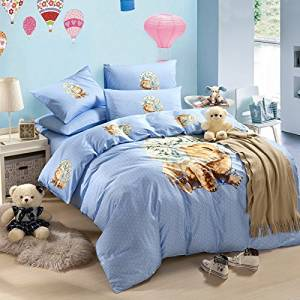 Lovely Puppy Blue Bedding Duvet Cover Set Cartoon Bedding Kids Bedding Girls Bedding Teen Bedding Gift Idea, Full Size