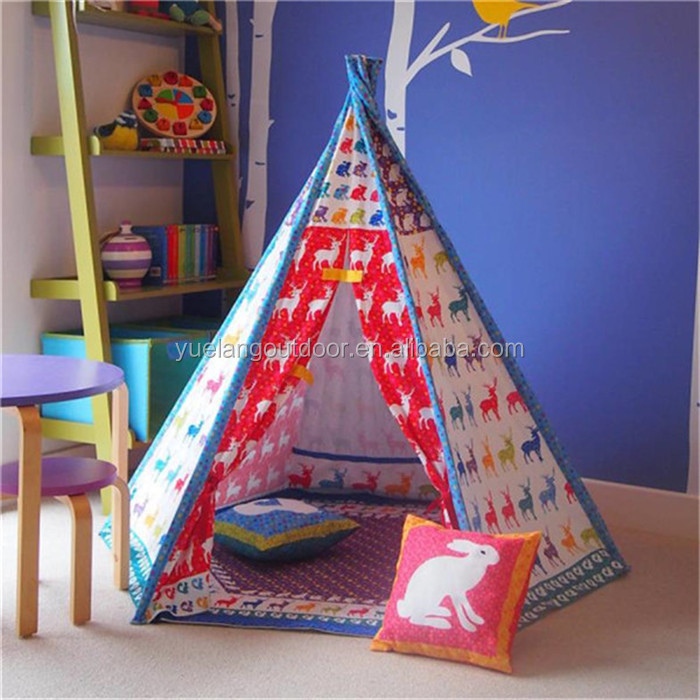 KT03 Yiwu Yuelang Outdoor cotton fabric wholesale children kids play lightweight indian teepee tent for sale
