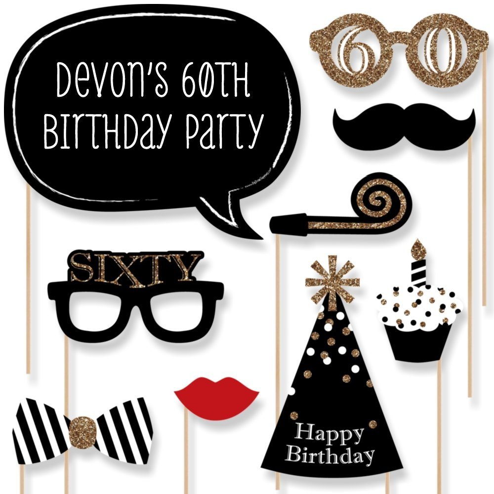 Custom Adult 60th Birthday - Gold - Photo Booth Props Kit - Personalized Sixty Birthday Party Decorations - 20 Selfie Props