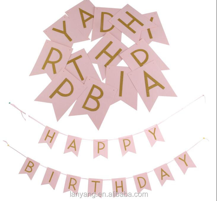 Pastel Pink Happy birthday banner Garland Gold Letters party decorations birthday
