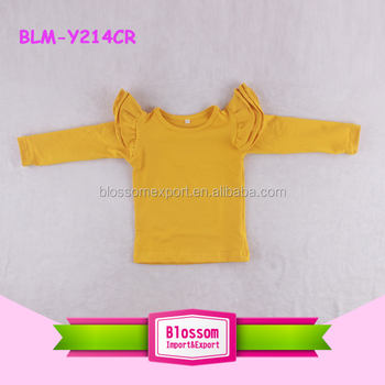 fd1f6aae406a Mustard Toddler Flutter Sleeve Girls Top Triple Cotton Ruffle ...