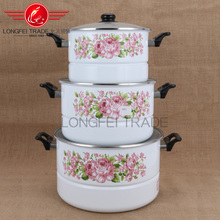 3pcs light applique enamel food steamer with glass lid