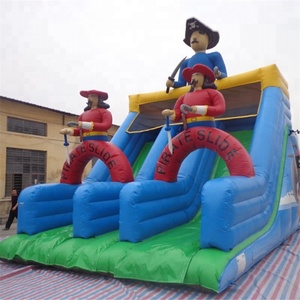 Newest Pirate themed inflatable dry fun giant slide for playground games